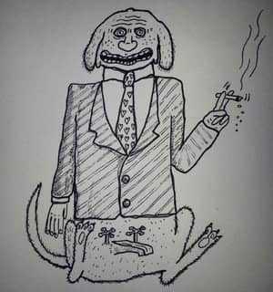 Человек-пес с сигаретой