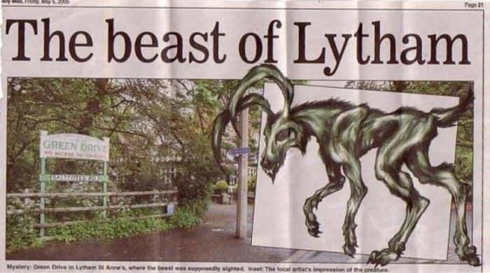 Заметка в газете о чудовище Литама