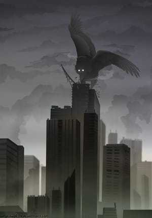 Огромная птица на здании