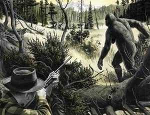 Охотник и самка йети