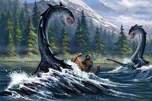 Динозавр атакует лодку