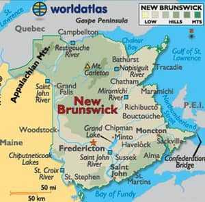 Карта Нью-Браунсвик