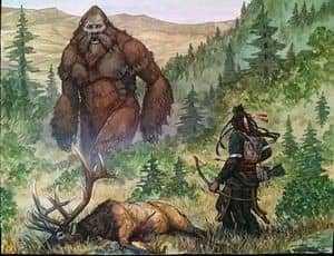 Бигфут и человек с луком